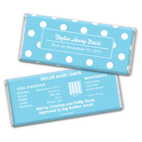 Baby Boy Announcement Personalized Chocolate Bar Polka Dots