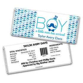 Mustache Baby Personalized Candy Bar - Wrapper Only