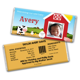 Baby Boy Announcement Personalized Chocolate Bar Barnyard with Photo
