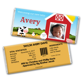 Baby Barnyard Personalized Candy Bar - Wrapper Only