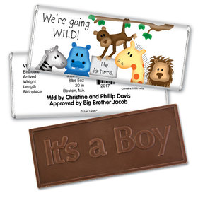 Baby Boy Announcement Personalized Embossed Chocolate Bar Going Wild Jungle Animals