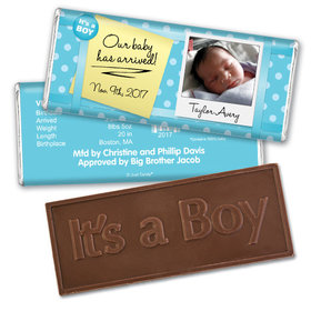 Baby Boy Announcement Personalized Embossed Chocolate Bar It's a Boy! Polaroid Photo