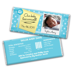 Baby Boy Announcement Personalized Chocolate Bar It's a Boy! Polaroid Photo