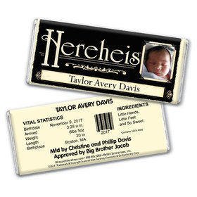 Personalized Boy Baby Announcements Chocolate Bar & Wrapper