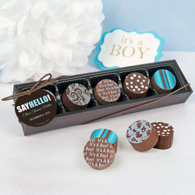 Personalized Boy Birth Announcement Say Hello Gourmet Chocolate Truffle Gift Box (5 Truffles)