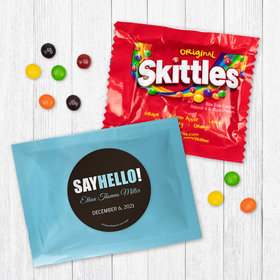 Personalized Boy Birth Announcement Say Hello - Skittles