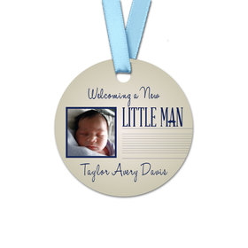 Personalized Baby Boy Little Man Round Favor Gift Tags (20 Pack)