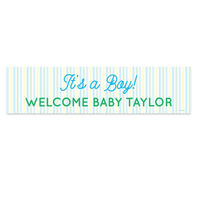 Personalized Boy Baby Announcement It's a Boy Stripes Banner