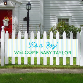 Personalized Boy Baby Announcement It's a Boy Stripes 5 Ft. Banner