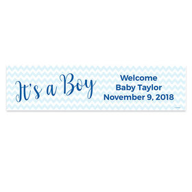 Personalized Boy Baby Announcement It's a Boy Chevron Banner