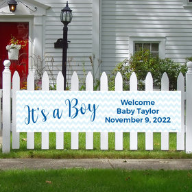 Personalized Boy Baby Announcement It's a Boy Chevron 5 Ft. Banner