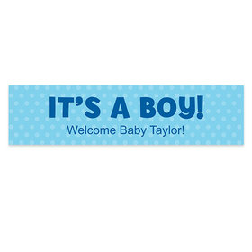 Personalized Boy Baby Announcement Polka Dots Banner