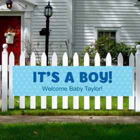 Personalized Boy Baby Announcement Polka Dots 5 Ft. Banner