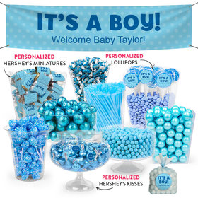 Personalized Boy Birth Announcement Polka Dots Deluxe Candy Buffet