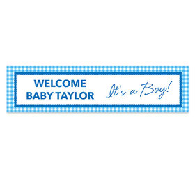 Personalized Boy Baby Announcement Checker Pattern Banner
