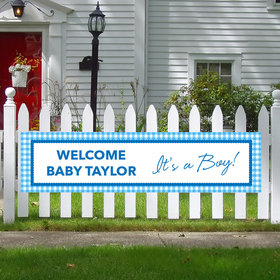 Personalized Boy Baby Announcement Checker Pattern 5 Ft. Banner
