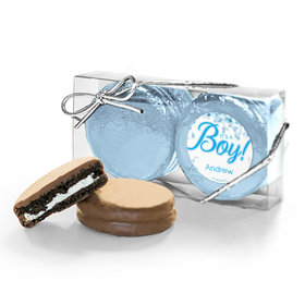 Personalized Boy Birth Announcement Bubbles 2Pk Milk Chocolate Covered Oreos