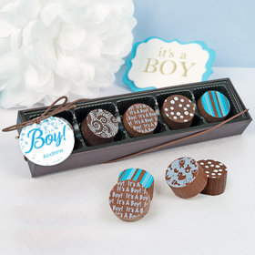Personalized Boy Birth Announcement Bubbles Gourmet Chocolate Truffle Gift Box (5 Truffles)