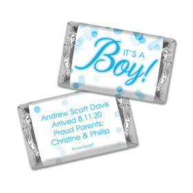 Personalized Hershey's Miniatures - Baby Boy Birth Announcement Bubbles