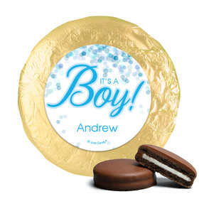 Milk Chocolate Covered Oreos - Personalized Boy Birth Announcement Bubbles (24 Pack)