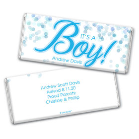 Personalized Bubbles Baby Boy Birth Announcement Hershey's Chocolate Bar Wrappers