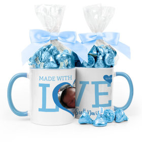 Personalized Baby Boy Announcement Hearts 11oz Mug with Hershey's Kisses