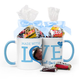 Personalized Baby Boy Announcement Hearts 11oz Mug with Hershey's Miniatures