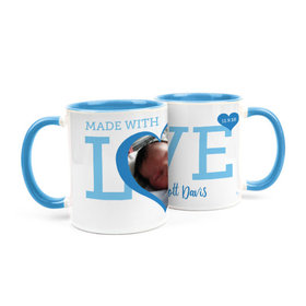 Personalized Baby Boy Announcement Hearts 15oz Mug