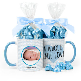 Personalized Baby Boy Announcement Latte Love 11oz Mug with Hershey's Kisses
