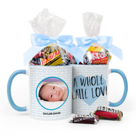 Personalized Baby Boy Announcement Latte Love 11oz Mug with Hershey's Miniatures