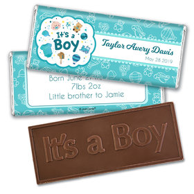Personalized Boy Birth Announcement Bundle of Joy Embossed Chocolate Bar & Wrapper
