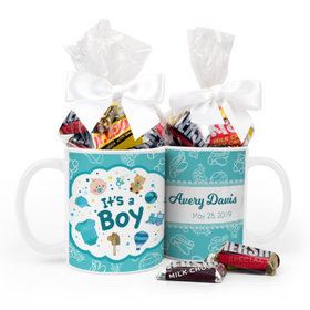 Personalized Birth Annoucement Its A Boy Bundle of Joy 11oz Mug with Hershey's Kisses