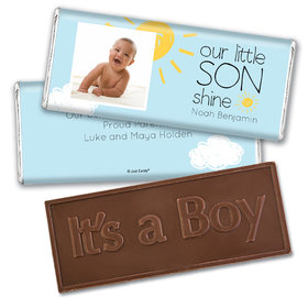 Personalized Our Little Son Shine Baby Boy Birth Announcement Hershey's Embossed Chocolate Bar & Wrapper