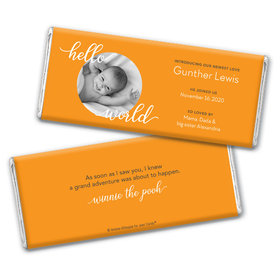 Personalized Hello World Baby Boy Birth Announcement Hershey's Chocolate Bar & Wrapper
