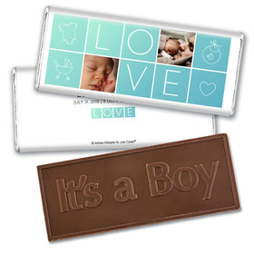 Personalized Boxes of Love Baby Boy Birth Announcement Hershey's Embossed Chocolate Bar & Wrapper