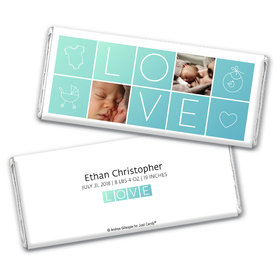 Personalized Boxes of Love Baby Boy Birth Announcement Hershey's Chocolate Bar Wrappers