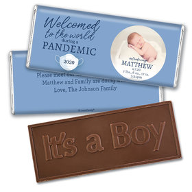 Personalized Pandemic Baby Boy Birth Announcement Embossed Chocolate Bars