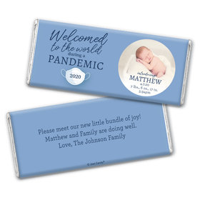 Personalized Pandemic Baby Boy Birth Announcement Chocolate Bars