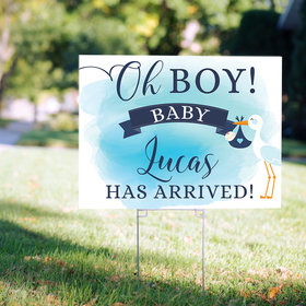 Personalized It's a Boy Yard Sign - Oh Boy! Stork