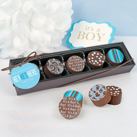 Personalized Boy Birth Announcement He's Here Gourmet Chocolate Truffle Gift Box (5 Truffles)