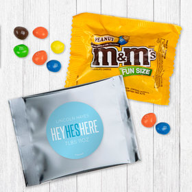 Personalized Boy Birth Announcement He's Here - Peanut M&Ms