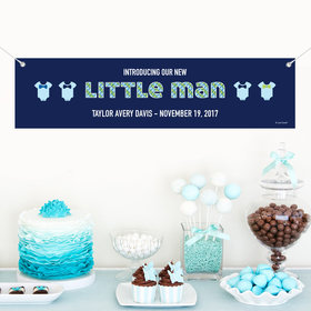 Personalized Little Man Birth Announcement 5 Ft. Banner