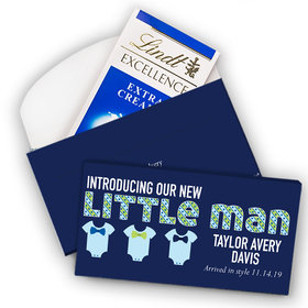 Deluxe Personalized Boy Birth Announcement Little Man Lindt Chocolate Bar in Gift Box (3.5oz)