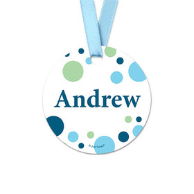 Personalized Dots Baby Boy Announcement Round Favor Gift Tags (20 Pack)