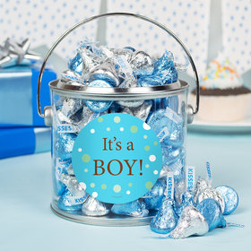 Baby Boy Bubbles Birth Announcement Paint Can with Sticker