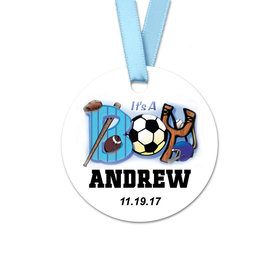 Personalized Baby Boy Sports Birth Announcement Round Favor Gift Tags (20 Pack)