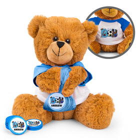 Personalized Sporty It's a Boy Birth Announcement Teddy Bear with Chocolate Coins in XS Organza Bag