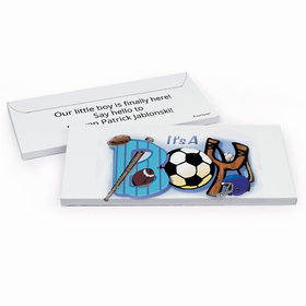 Deluxe Personalized Birth Announcement It's a Boy Sports Chocolate Bar in Gift Box