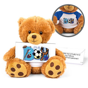 Personalized Birth Announcement Sporty It's a Boy Teddy Bear with Embossed Chocolate Bar in Deluxe Gift Box