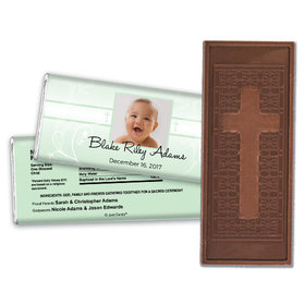 Baptism Personalized Embossed Cross Chocolate Bar Photo, Cross & Scroll